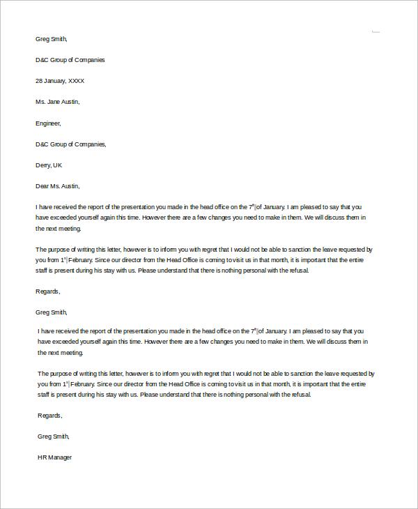 8+ Sample Refusal Letters | Sample Templates