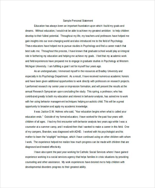 psychology personal statements for graduate school