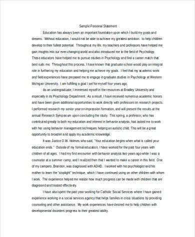 Graduate psychology admissions essay