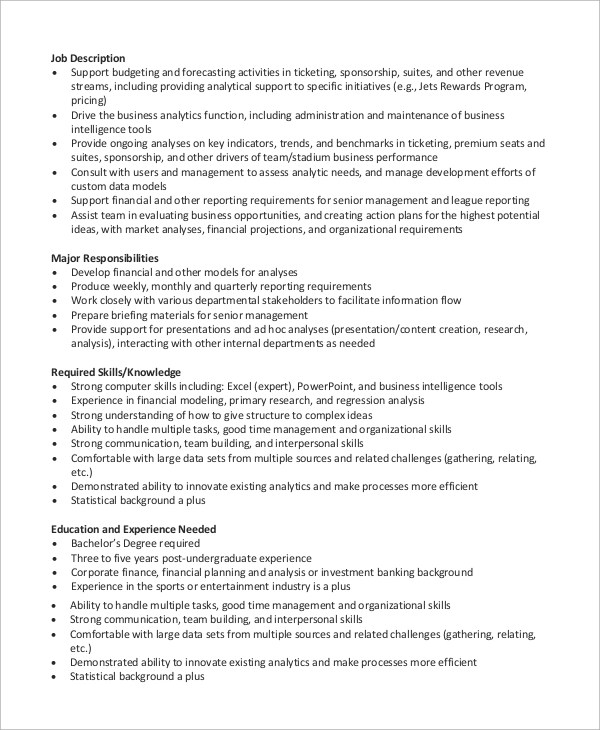 · analysing financial data to draw conclusions and produce forecasts. Free 7 Sample Financial Analyst Resume Templates In Ms Word Pdf