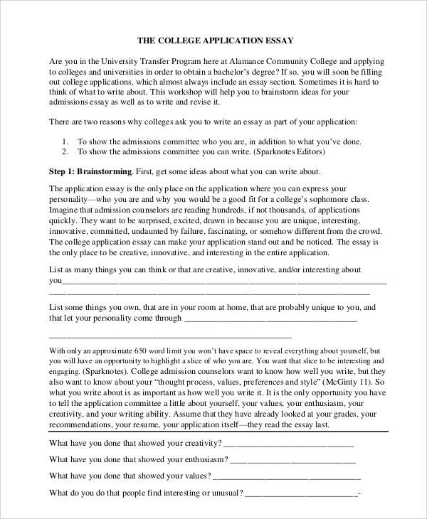College application essay writing noble