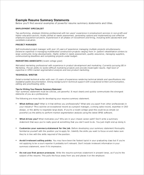 Resume Summary Example 8 Samples In Word Pdf. Wwwisabellelancrayus  Ravishing Bartenderresumeexampleexecutivepng  Examples Of Resume Summary