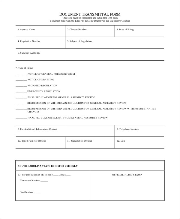 material submittal form
