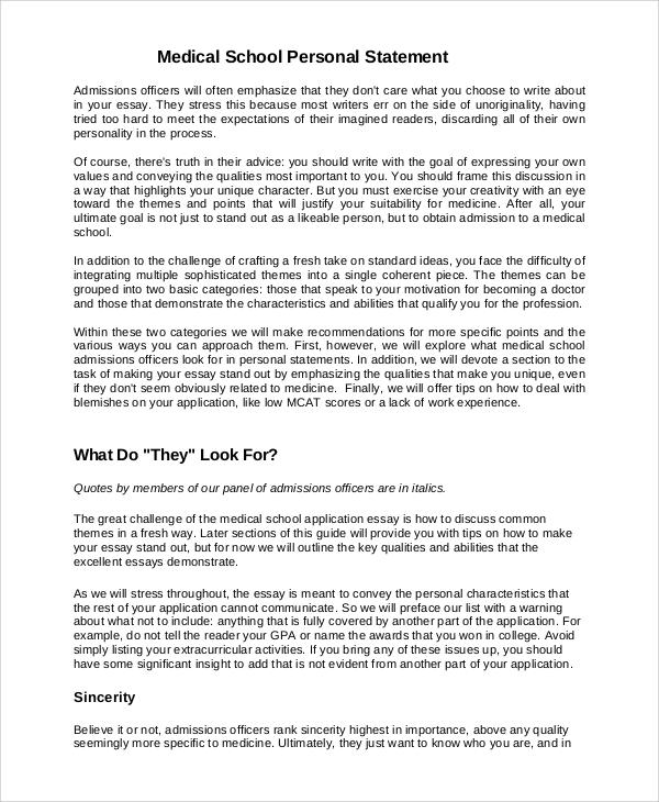 medical school personal statement high school