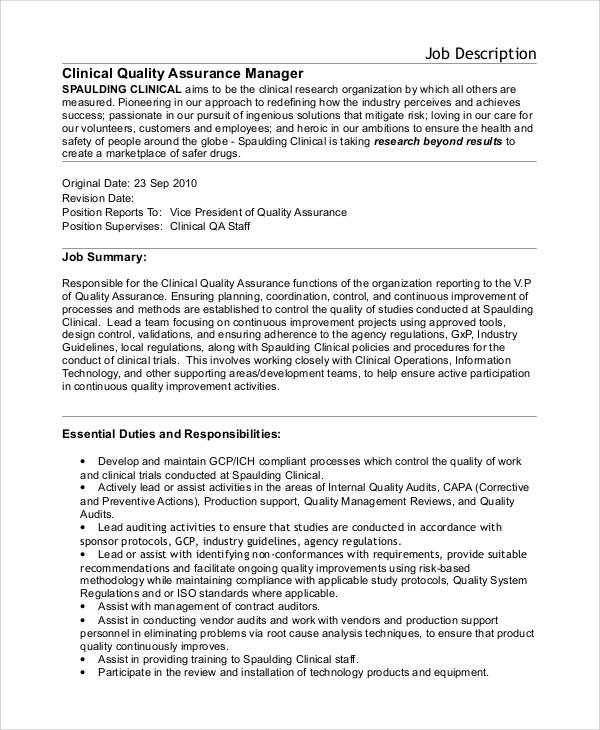 FREE 10+ Sample Quality Assurance Job Description ...