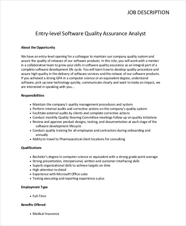 Sample Quality Assurance Job Description 10 Examples In