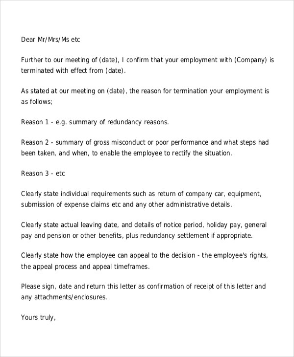 Employee Termination Letter Termination Letters Qrtdmhb Sample Of