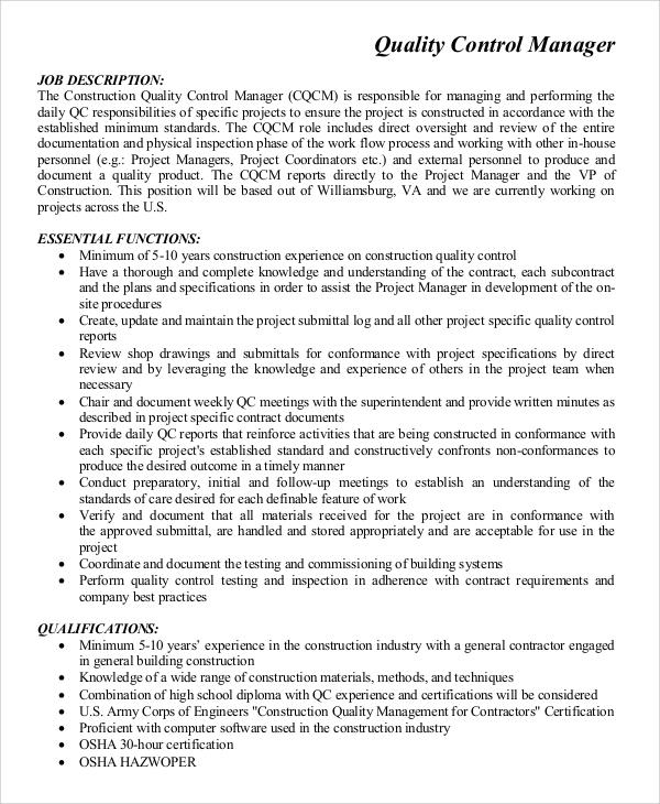 Sample Quality Control Job Description - 9+ Examples in ...