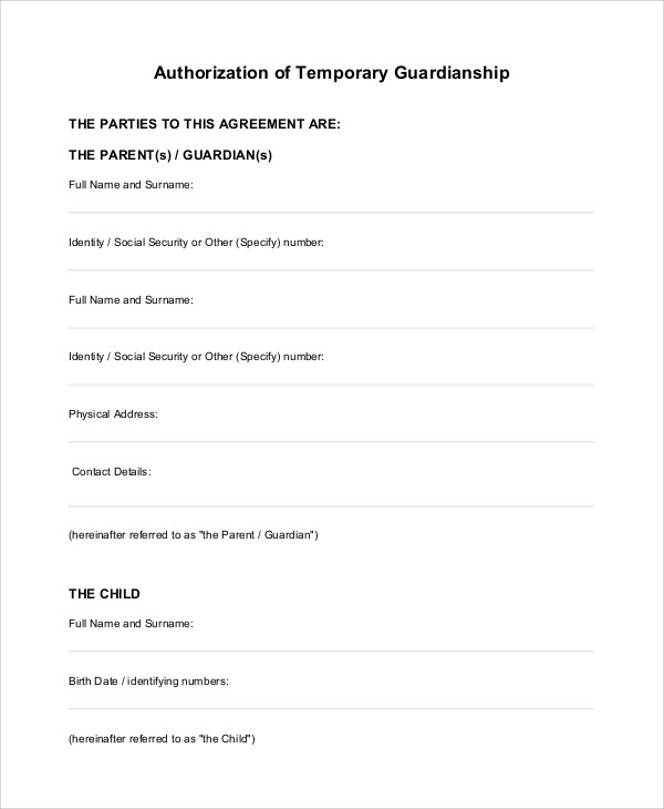 temporary guardianship form free download - Temporary Guardianship Forms