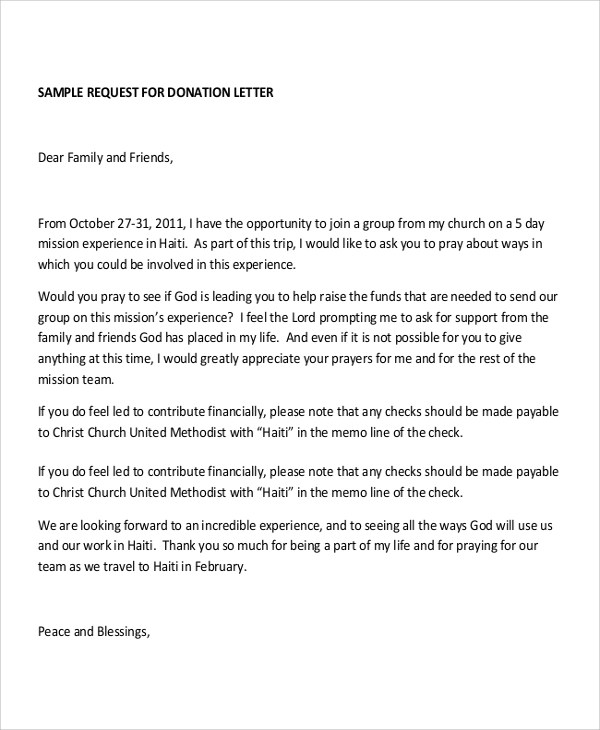 Sample Letter Requesting Donations For Church | Docoments Ojazlink