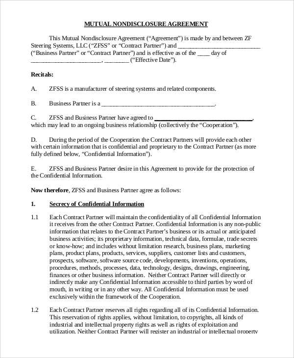 From time to time, the disclosing party may disclose confidential information to the receiving party. Free 9 Sample Non Disclosure Agreement Forms In Pdf Ms Word