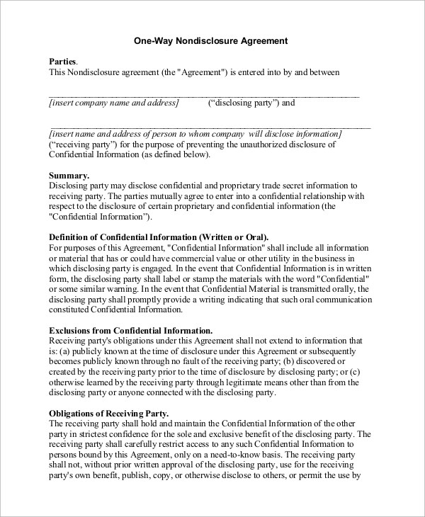 The confidential information is defined in the agreement which includes, but not limited to, proprietary information, trade secrets, and any other details which may include personal information or events. Free 9 Sample Non Disclosure Agreement Templates In Pdf