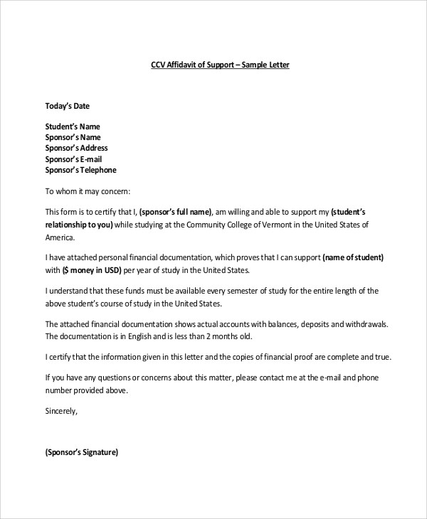 Student Affidavit Of Support Sample Letter  Docoments Ojazlink