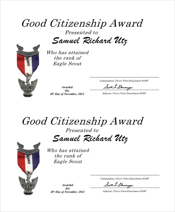 Letter Of Recommendation For Citizenship Award Poemsrom