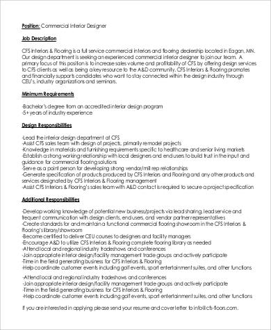 Interior design job information