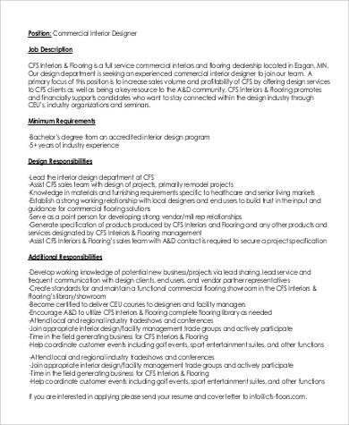 interior design job description