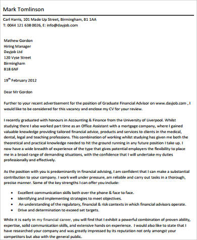 Sample Accounting Cover Letter 8 Examples In Word PDF