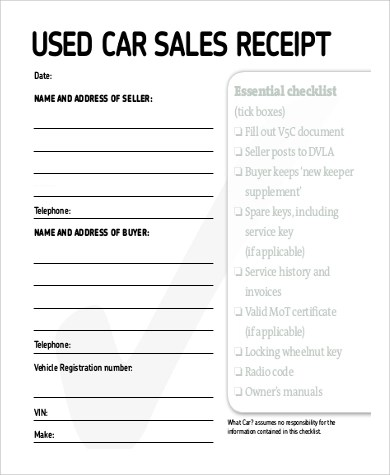 Car Sales Receipt Template Free Download