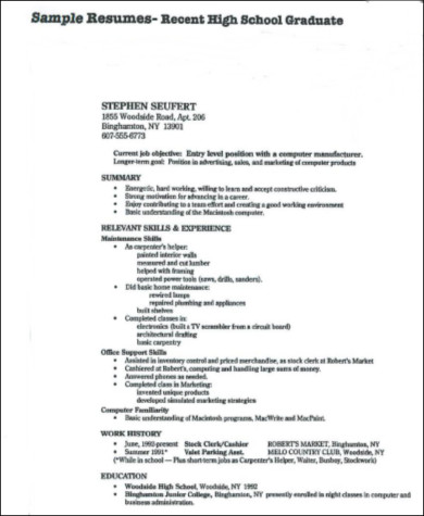 Sample High School Graduate Resume