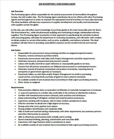 Purchasing Agent Job Description Sample 8 Examples In