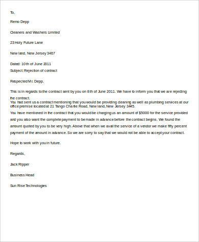 8+ Rejection Letter Samples | Sample Templates