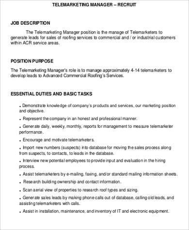 Telemarketing Resume Job Description. inside sales rep and ...