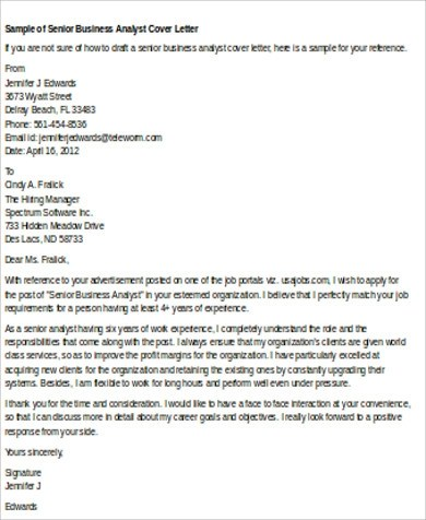 Sample Business Analyst Cover Letter 8 Examples In Word PDF