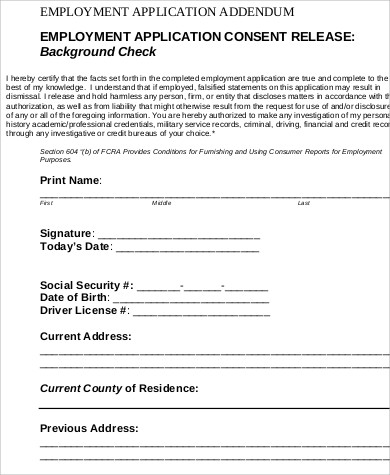 Criminal Background Check For Employment Form  Background Editing