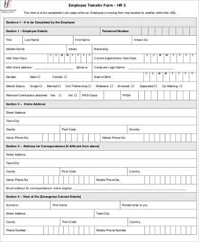 All excel templates are free to download and use. Free 9 Sample Employee Transfer Forms In Ms Word Pdf