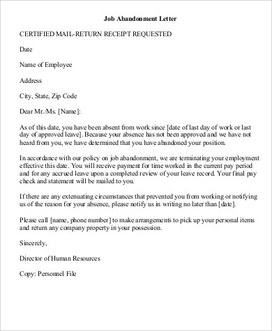 Job-Abandonment-Letter-Example Job Abandonment Letter Template Free on military leave letter template, layoff letter template, suspension letter template, sick leave letter template, disability letter template, termination of employment letter template, personal leave letter template, lease termination letter template, social security letter template, retirement letter template, employment verification letter template, voluntary resignation letter template, transfer letter template, lack of work letter template, formal letter format template, return of property letter template, discharge letter template,