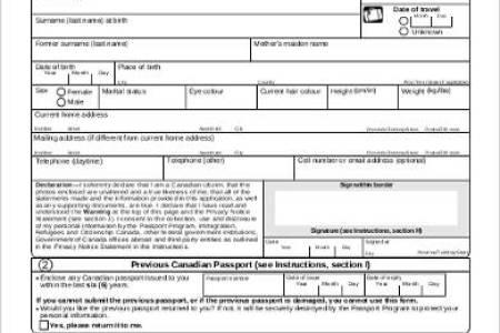 Free Resume Sample Canada Child Renewal Passport Form Resume Sample