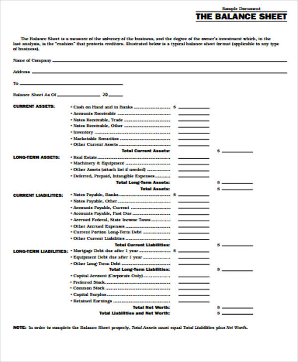 Learning to read and interpret a balance sheet can help you gain investing insights into how a business manages it's funds. Free 12 Balance Sheet Formats In Ms Word Pdf Excel