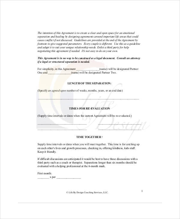 Child access and custody, child support, spousal support, division of property, and; Free 7 Sample Separation Agreement Forms In Ms Word Pdf