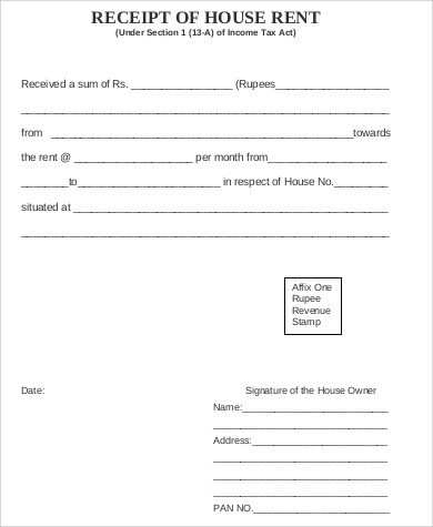 house rent receipt free download