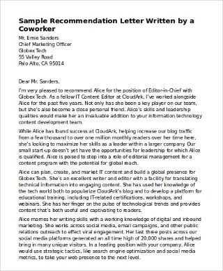 How To Write A Recommendation Letter For Coworker | Docoments Ojazlink