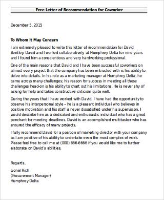 Recommendation Letter Coworker  Docoments Ojazlink