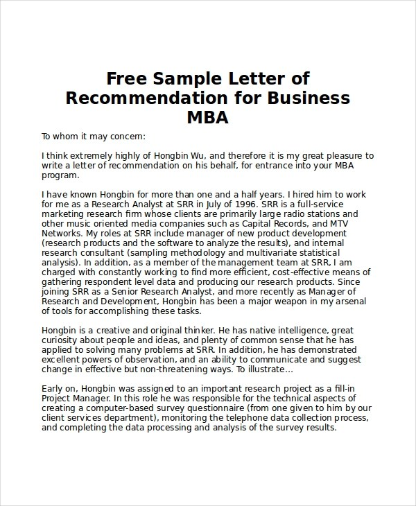 Recommendation Letter For Mba  Docoments Ojazlink