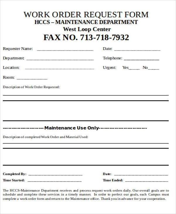 There is also space for a signature of approval as well as location, starting date, and contact information. Free 9 Sample Work Order Forms In Ms Word Pdf