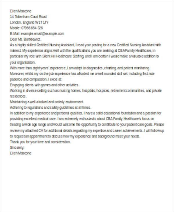 Cover Letter Sample For Nursing Assistant Sample Cover Letter
