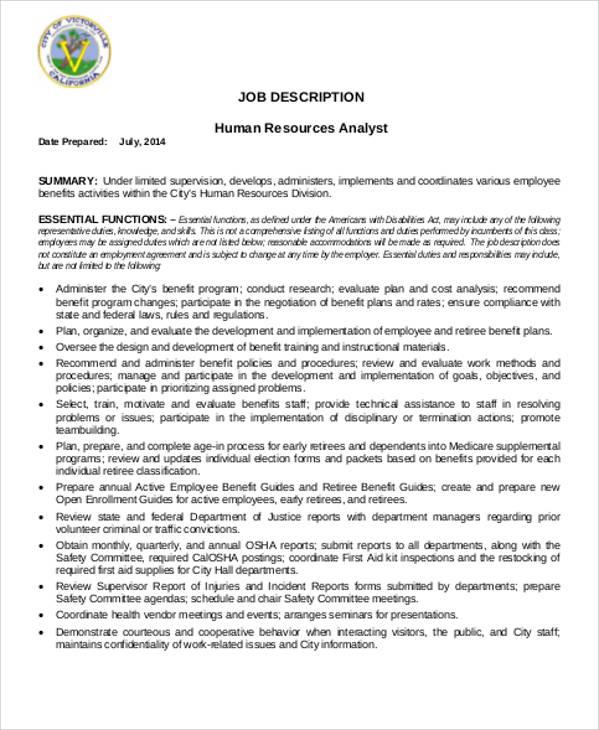 Human Resource Management Job Description Sample 7