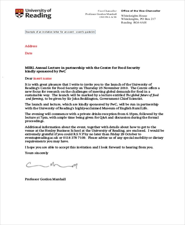 sample formal invitation letter