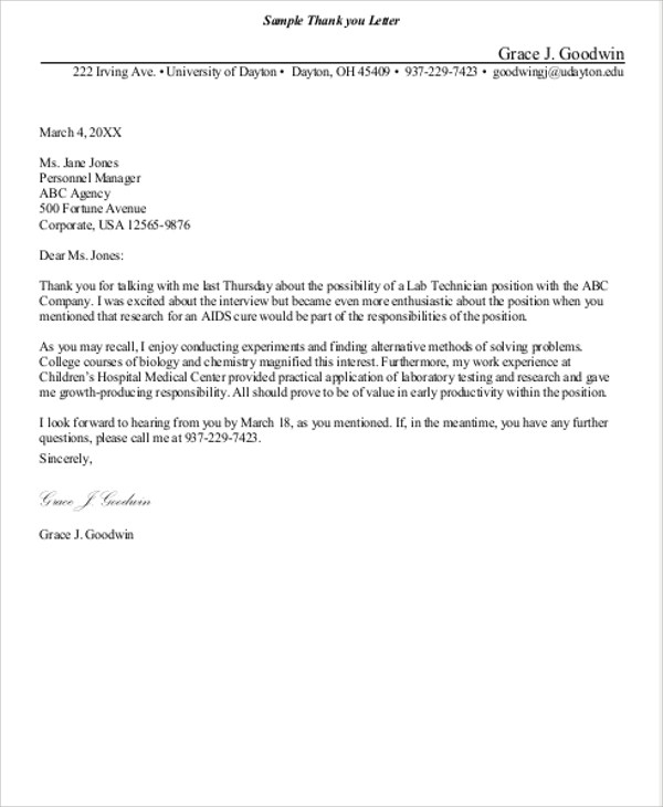 Sample Medical Assistant Thank You Letter 8 Examples In Word Pdf