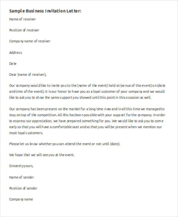 sample business invitation letter