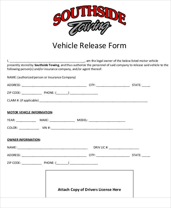 Vehicle Release Form Dmv  The Best Vehicle