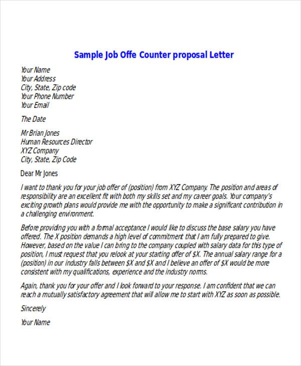Sample Job Offer Counter Proposal Letter Pdf | mamiihondenk org