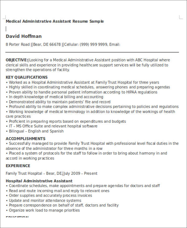 A motivated administrative professional seeking a position in a challenging environment. Free 6 Administrative Assistant Resume Objectives In Ms Word Pdf