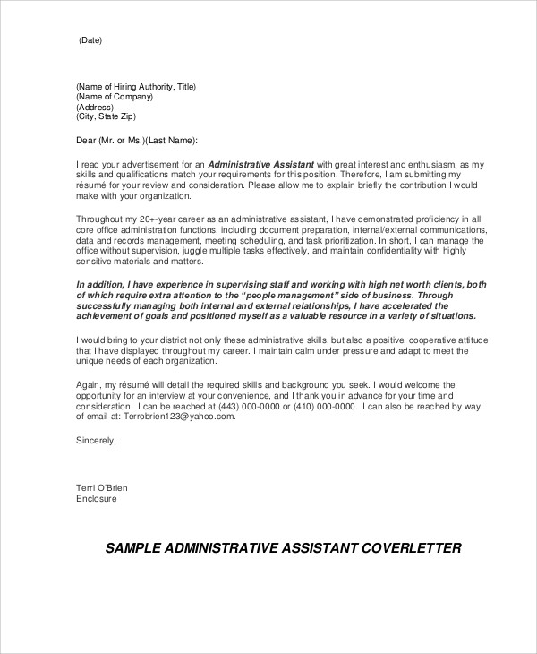 Administrative Cover Letter 9 Examples In Word PDF