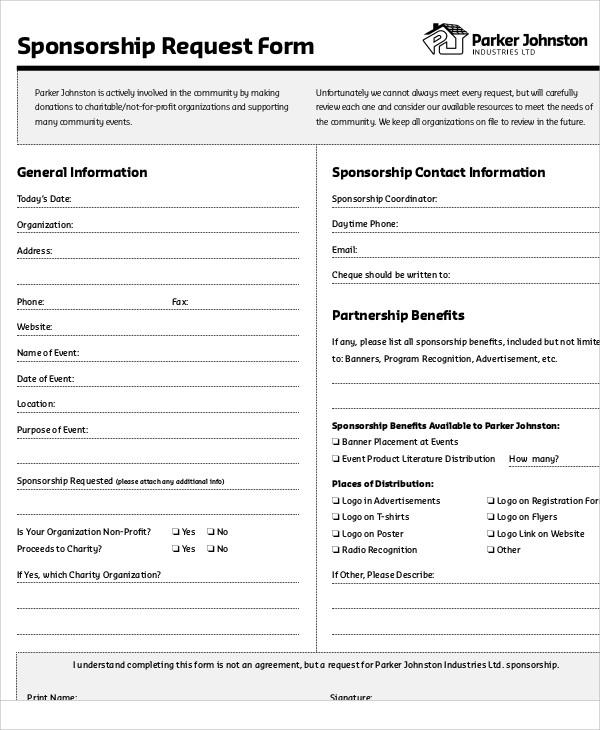 Template Renewal Corporate Form Sponsorship