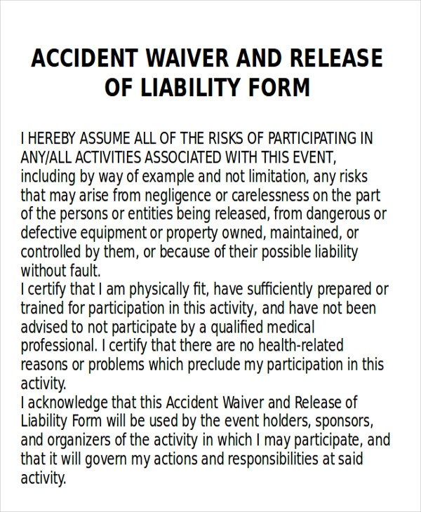 Accident Release Form Release Of All Claims Property Damage Nevada