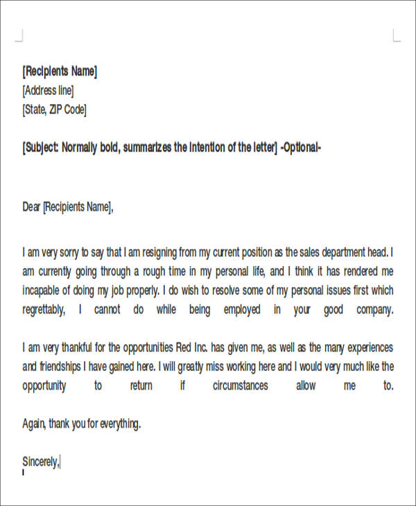 Resignation Letter Samples Personal Issues  Docoments Ojazlink